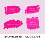 grunge set of pink paint  ink... | Shutterstock .eps vector #727042795