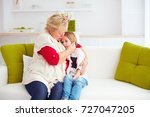 granny soothing her sad... | Shutterstock . vector #727047205