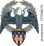 american eagle with usa flags | Shutterstock . vector #727048174