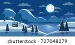 winter nature landscape.... | Shutterstock .eps vector #727048279