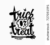 trick or treat lettering with a ... | Shutterstock .eps vector #727051591