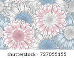 hand drawing  seamless floral... | Shutterstock .eps vector #727055155