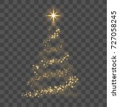 christmas tree on transparent... | Shutterstock .eps vector #727058245