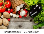 vegetables over wooden... | Shutterstock . vector #727058524