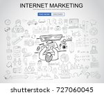 internet marketing concept with ... | Shutterstock . vector #727060045