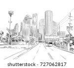 houston. texas. usa. hand drawn.... | Shutterstock .eps vector #727062817