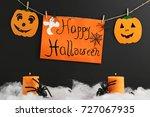 halloween pumpkins with spiders ...   Shutterstock . vector #727067935