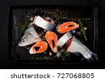 fresh raw salmon pieces red... | Shutterstock . vector #727068805