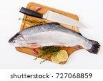 fresh raw salmon red fish ... | Shutterstock . vector #727068859