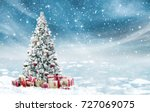 Small photo of Beautiful decorated snowed in christmas tree in a cold winterlandscape