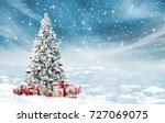 Beautiful Decorated Snowed Christmas Tree - Fine Art prints