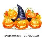 halloween pumpkins with witch... | Shutterstock .eps vector #727070635