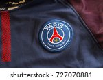 Small photo of ZAGREB, CROATIA - OCTOBER 03, 2017. - French football club Paris Saint-Germain emblem on jersey.