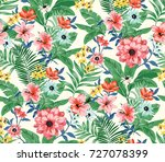 seamless trendy tropical... | Shutterstock . vector #727078399