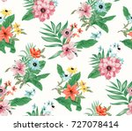 seamless trendy tropical... | Shutterstock .eps vector #727078414