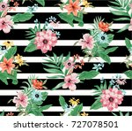 seamless trendy tropical... | Shutterstock .eps vector #727078501