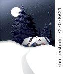 winter country landscape | Shutterstock .eps vector #727078621