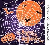 halloween pumpkins and bats on... | Shutterstock .eps vector #727080721