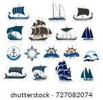 Sailing Ships Silhouettes And...