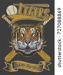 tiger face baseball bat and ball | Shutterstock . vector #727088869
