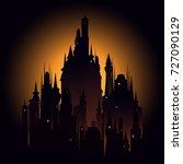 big dark castle meeting sunset. ... | Shutterstock .eps vector #727090129