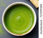 matcha  green tea latte in a... | Shutterstock . vector #727099384