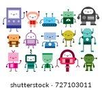 vector set of cartoon robots... | Shutterstock .eps vector #727103011