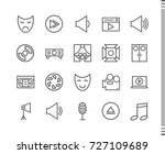 flat vector icons with a thin... | Shutterstock .eps vector #727109689