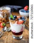 yogurt with granola ... | Shutterstock . vector #727110061