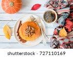 pumpkin pancakes with pecan... | Shutterstock . vector #727110169