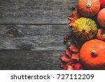 autumn fall frame composition... | Shutterstock . vector #727112209