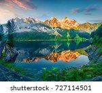 impressive summer morning on...   Shutterstock . vector #727114501