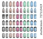 set of colored painted nails.... | Shutterstock .eps vector #727115419