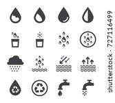 water icon set  black water... | Shutterstock .eps vector #727116499