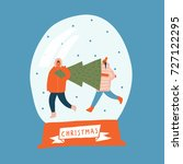 christmas card with couple... | Shutterstock .eps vector #727122295