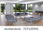 modern bright interiors. 3d... | Shutterstock . vector #727135591