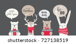 banner with cute winter animals ... | Shutterstock .eps vector #727138519