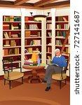 a vector illustration of senior ...   Shutterstock .eps vector #727141687