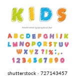 font pencil crayon. for kids.... | Shutterstock .eps vector #727143457