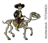 the rider in the mexican man... | Shutterstock .eps vector #727144621