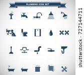 plumbing icons set vector | Shutterstock .eps vector #727144711