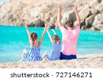 happy family on tropical beach... | Shutterstock . vector #727146271