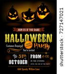 halloween party invitation with ... | Shutterstock .eps vector #727147021