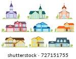 set of flat icon suburban... | Shutterstock .eps vector #727151755