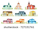 set of flat icon suburban... | Shutterstock .eps vector #727151761