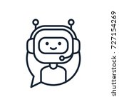 chatbot line icon concept. cute ... | Shutterstock .eps vector #727154269