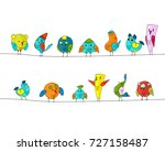 cartoon colorful birds set.... | Shutterstock .eps vector #727158487