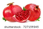 pomegranate isolated on white... | Shutterstock . vector #727159345