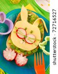 easter funny sandwich with  bunny for child`s breakfast - stock photo