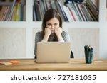 grumpy not amused office worker ... | Shutterstock . vector #727181035